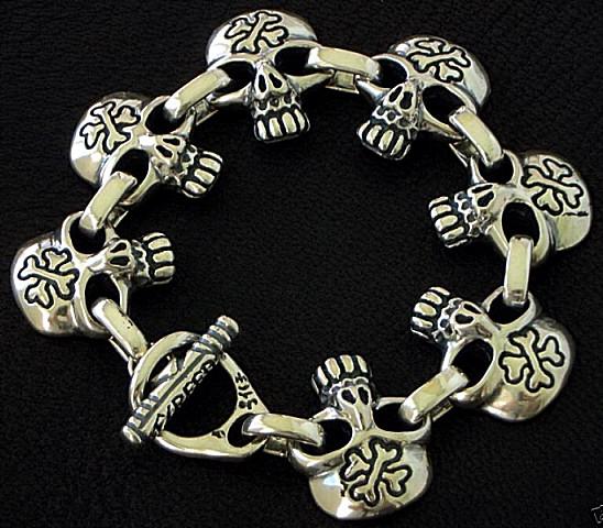 Skull Bracelet Skull And Cross Bones Bracelet